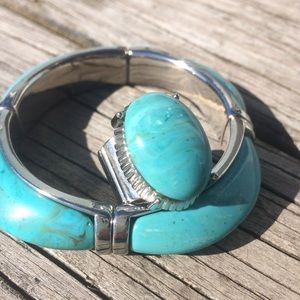 Cookie Lee Faux Turquoise Bracelet & Stretch Ring
